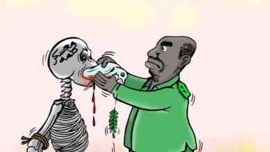 صورة كاريكاتير لعمر دفع الله  يلخص مفهوم البشير للسلام