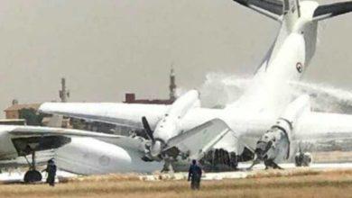 صورة تحطم طائرتين عسكريتين بمطار الخرطوم