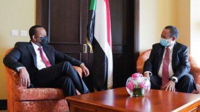 """صورة لقاء بين حمدوك وآبي في قمة """"إيقاد"""" الاستثنائية بجيبوتي"""