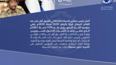 صورة البرهان يلغي قرارا للمخلوع حول دخول السوريين الى السودان